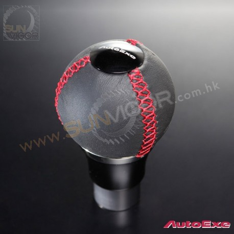AutoExe Leather Round Shift Knob with red stitching A134X-03