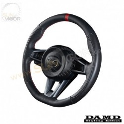 2016+ Miata [ND] Damd D-Shaped Leather Steering Wheel with red stitching DND137003