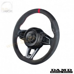 2016+ Miata [ND] Damd D-Shaped Suede Steering Wheel with red stitching DND137033