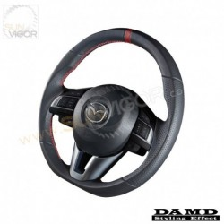 13-16 Mazda6 [GJ] Damd D-Shaped Leather Steering Wheel with red stitching DGJ137003