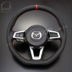 2016+ Miata [ND] AutoExe D-Shaped Leather Steering Wheel with red stitching MND1370-03