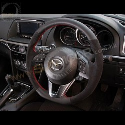 13-16 Mazda6 [GJ] AutoExe D-Shaped Leather Steering Wheel with red stitching MGJ1370-03