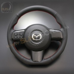07-14 Mazda2 [DE] AutoExe D-Shaped Leather Steering Wheel with red stitching MDE1370-03