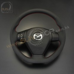 04-08 RX-8 AutoExe D-Shaped Leather Steering Wheel with red stitching MSE1370-03