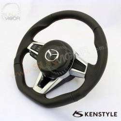 2016+ Miata [ND] Kenstyle D-Shaped Leather with double stitching Steering Wheel KND137003