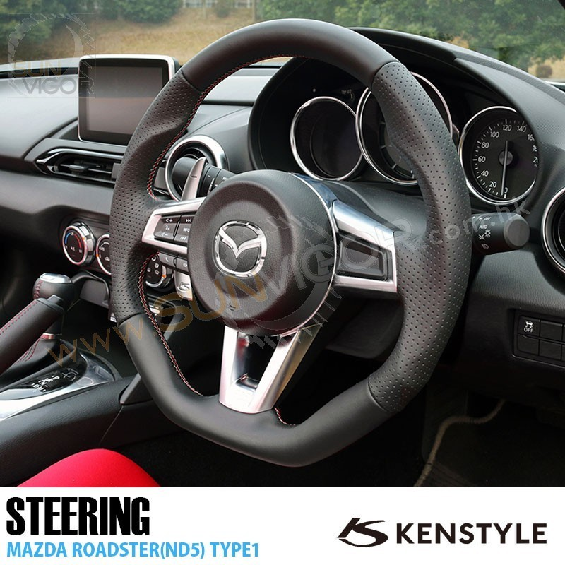 Miata Nd Kenstyle D Shaped Leather With Double Stitching Steering Wheel Knd