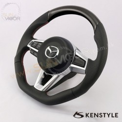 2016+ Miata [ND] Kenstyle D-Shaped Leather and Carbon Fibre with double stitching Steering Wheel KND137303