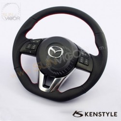 2014+ Mazda6 [GJ] Kenstyle D-Shaped Leather Steering Wheel with stitching KGJ1373