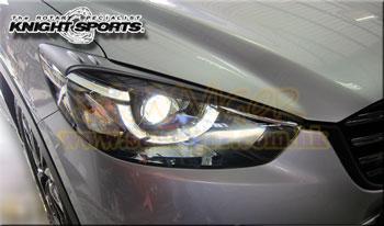 日本KNIGHTSPORTS (騎士改)MAZDA(萬事得,馬自達,長安馬自達) Mazda CX-5(CX5,KE,SkyActiv,創馳藍天,SkyActiv-Diesel,KE2FW,KE2AW,KE5FW,KE5AW,KEEFW,KEEAW) 汽車動力升級改裝零件安裝實錄 Front Bumper Grill Headlight Flller Trim Panel Set 魚眼燈罩(天使眼罩) KZD-75141