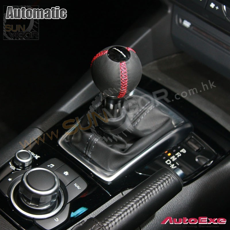 ... 2014+ Mazda AutoExe Leather Round Shift Knob With Red Stitching  A1340 03 ...